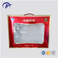 Customized Design Beverage Packaging Paper Box with Clear Window & Plastic Handle