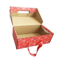 Customized Wholesale Colorful Printing Shoe Packaging Corrugated Paper Box with Rope Handle