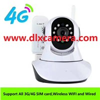 4G SIM Card Wireless & Wired WiFi 128G SD Two Ways Voice P2P PTZ Camera with Remote Control Via APP