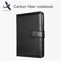 Luxury Black Carbon Fiber Leather Cover Business Notebook with Customer's Logo