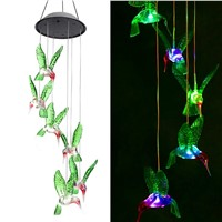Solar String Lights, Color Changing LED Mobile Hummingbird Wind Chimes, Waterproof Outdoor Solar Lights for Home/Yard