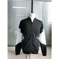 Fashion Fleece / Leather Men's Mix White&Black Coat