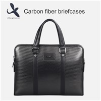 Carbon Fiber Briefcase with Genuine Leather Business Bag Handbag Computer Bag
