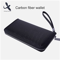 OEM Carbon Fiber Wallet Long Business Wallet Zipper Handbag with Factory Price