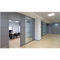 2019 Free Design Factory Frosted Glass Wall Partition Aluminium Profile Wood Partition Doors for Modern Office