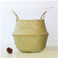 Bulk Bolga Baskets Custom Flower Pot Natural Woven Belly Seagrass Basket