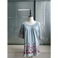 Fashion Elastic Neck Flower Embroidered Ladies Peasant Dress