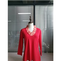 Fashion Petaline Ruffle Neck Colorful Long Sleeve Ladies Top