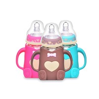 Wholesale Wide Neck China Silicone Baby Feeding Bottle with Handle Baby Feeding Product