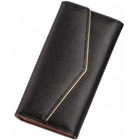 WA8141 Best Selling Synthetic PU Leather Wallet Women Envelope Purse Phone Gold Wallet