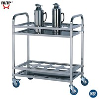 Stainless Steel Kettle Cart with Wheels, Two Layers
