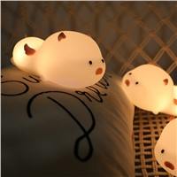 Timing Sleep with Cute Pig Silicone Night Light Colorful Cute Pet, USB Charging, Innovative Unique Non-Polar Dimmer