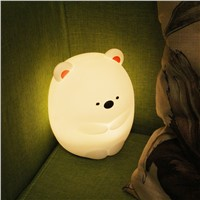 Creative Dull Bear Colorful Silicone Night Light, Can Be Charged through USB, but Also Can Be Operated by Remote Control