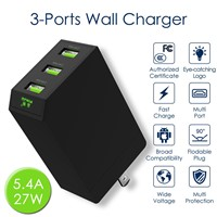 Multiport USB Charger 5.4A Power Adapter Mobile Phone Accessory Travel Charger with Foldable Plug