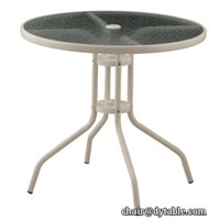 Outdoor Round Table/Glass Outdoor Table/Outdoor Umbrella Table Stainless Steel
