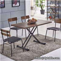 Supplier Dinning Room Furniture Lifting Stainless Steel Dinning Table with Chair