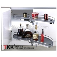 TKK Kitchen Magic Corner MDF Board Swing Tray with Soft-Stop Storage Basket