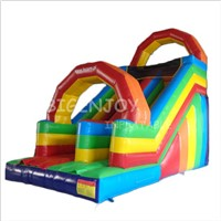 Commercial Outdoor Rainbow Inflatable Dry Slide for Kids