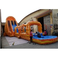 Marble Yellow Color Giant Long Hippo Inflatable Water Slide for Adults