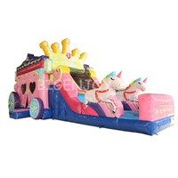 Inflatable Bouncer with Slide Princess Carriage Inflatable