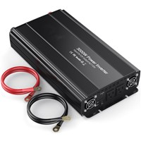 3000W Car Power Inverter 2 AC Outlets 12V DC to 110V AC with Battery Clip Cable