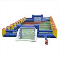 Outdoor Giant Blow up Human Foosball Court Game Rentals New 3 in 1 Soap Football Pitch Arena Inflatable Soccer Field