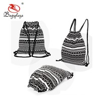 China Suppliers Fashion Cloth Promotional Christmas Printed Cotton Canvas Fabric Drawstring Bag