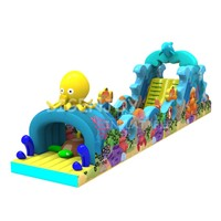 Cute Animal Ocean Theme Inflatable Obstacle Course Playground with Slide for Kids