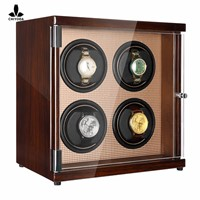 CHIYODA Quad Watch Winder with Quiet Mabuchi Motor & LCD Touch Screen - High Gross Brown