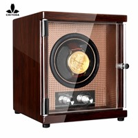 CHIYODA Single Watch Winder with Quiet Mabuchi Motor & 12 Rotation Modes - High Gloss Brown