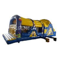 Outdoor Commercial Minion Inflatable Obstacle Course for Kids