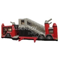 Commercial Outdoor Inflatable Fire Truck Obstacle Course for Kids