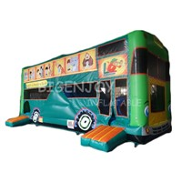 Kids Outdoor Jungle Bus Car Inflatable Combo Obstacle Course with Slide Bus Inflatable Obstacle Course