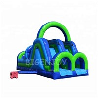 Green & Blue Double Lane Inflatable Slide for Party Rentals Cheap Inflatable Obstacle Course