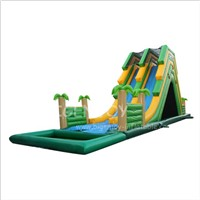 Jungle Water Slide with Pool Children Kids Double Lane Slip N Slide Giant Inflatable Water Slides