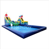 Pool Blow up Water Park with Pool Giant Inflatable Water Slides