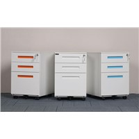 Metal Mobile Pedestal with Handle Drawers File Cabinet