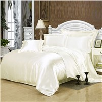 100% Pure Satin Silk Bedding Set, Home Textile Bedclothes, Duvet Cover Flat Sheet Pillowcases Wholesale Unit Price $24.3