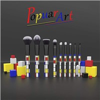 New Portable Customized 9pcs OEM Factory Colorful Rubik's Cube Powder Brush Makeup Brush Set with Same Style Present Box