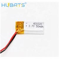 Hubats Rechargeable 401020 Lithium Polymer Battery 401020 Lipo Battery 3.7v 50mah for Bluetooth Headset