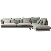 Italian Style Modern Living Room Furniture Sofa L Shaped Sofa Sectional with Fashion Chrome Legs