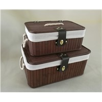 Hot Sale Bamboo Storage Box, Storage Bin with Lid, Brown Color Rectangle Basket,