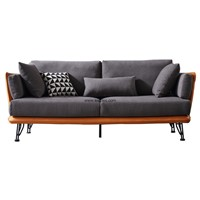 Leisure Textile Living Room Furniture Two Tone Fabric Sofa with Modern Chrome Legs
