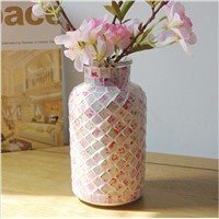 Pastoral Style Pink Mosaic Glass Bottle Home Decoration Vase