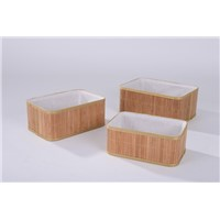 Hot Sale Bamboo Storage Baskets with Polyester Fabric Liner, Rectangle Shape. Storag Box.