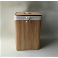Foldable Bamboo Laundry Basket with Lid, Rectangle Shape,