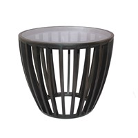 Modern Design Yuan Solid Bamboo End Table with Glass Top