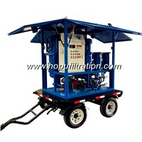 Mobile Trolley Mounted Transformer Oil Filtration Machine, Movable Insulation Oil Purifier with Car Wheels Trailer