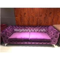 Modern Classic 3 Seat Chesterfield Velvet Upholstered Living Room Button-Tufted Fabric Sofa