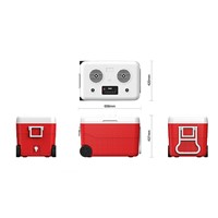 55 Quarts Cooler Box Medium Ice Chest with Wheel Mutifunction Cooler for Outdoor BT Speaker Power Bank Red Chill Box